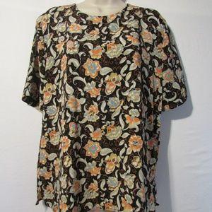 Vtg Blouse Floral Polyester Sz 12 USA made
